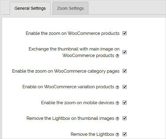 تنظیمات عمومی افزونه زوم تصویر وردپرس WP Image Zoom